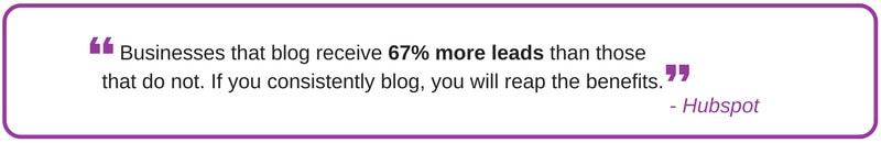 Quote: Businesses that blog receive 67% more leads than those that do not.