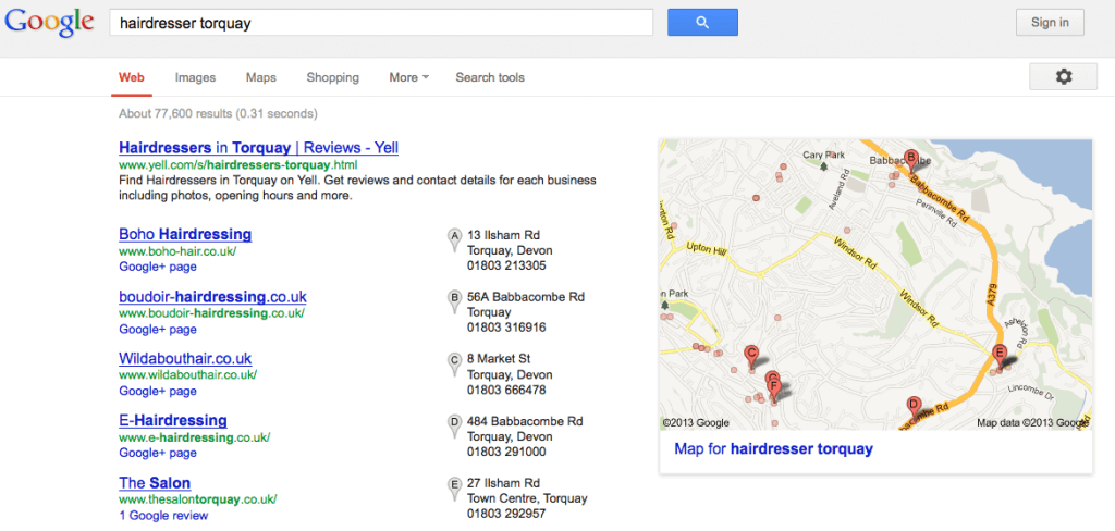 local search results