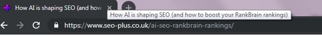 The title tag is visible on the tab above the address bar when a web page is open