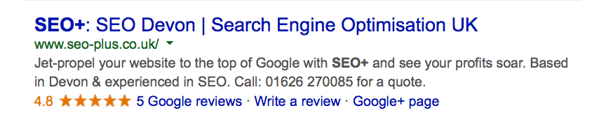 SEO+ listing in Google