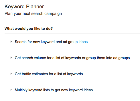 Google Keyword Planner - Options