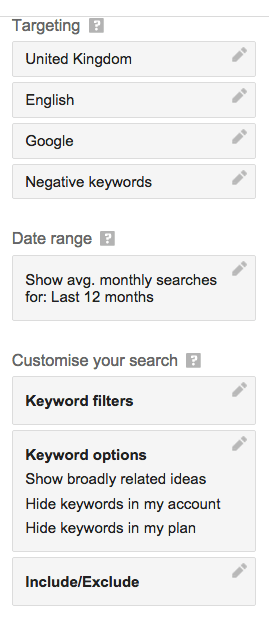 Customise your Google Keyword Planner search