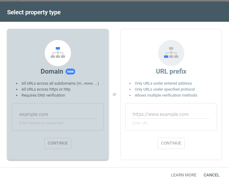 Select property type - Google Search Console