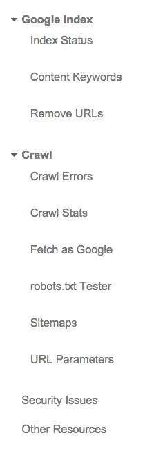 Google Index data and Crawl menus