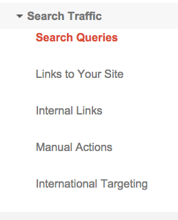 Search Traffic menu
