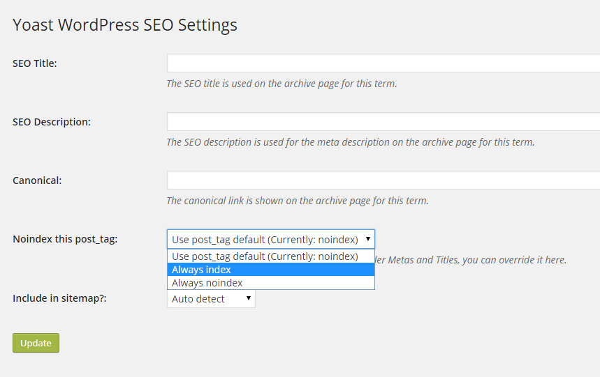 Yoast WordPress SEO Settings