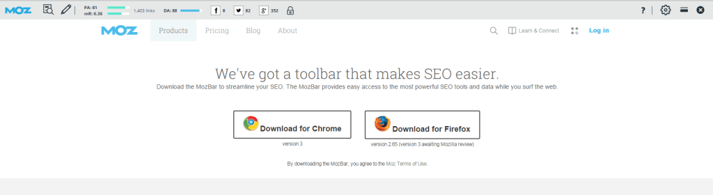 The MozBar is a free SEO toolbar plugin