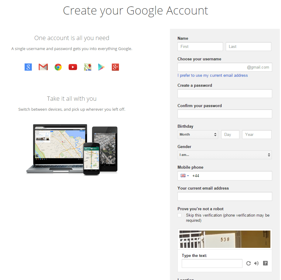 Create a Google+ account