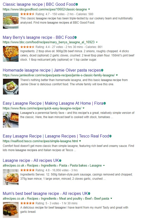 Lasagne recipe search engine results page