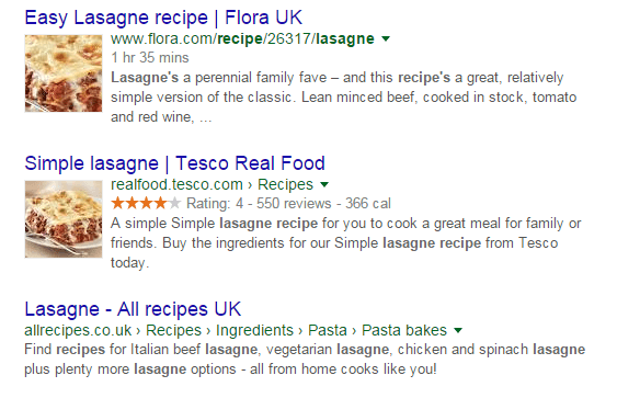 Recipe structured data