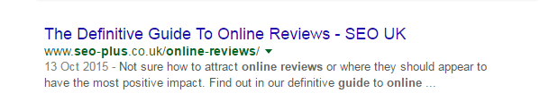 A title tag on a SERP