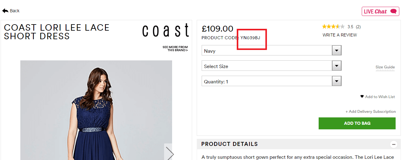 Feature the product code