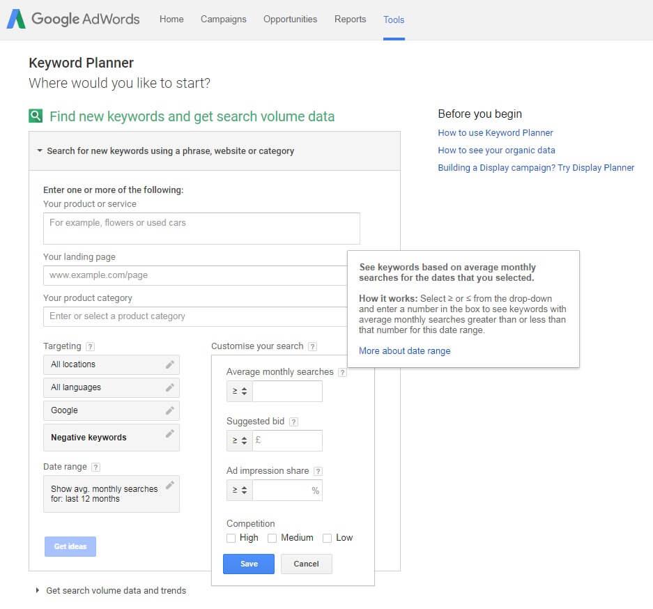 Google Keyword Planner SEO Tool