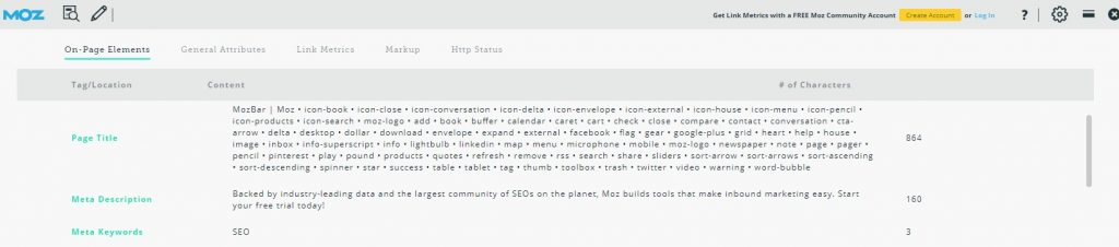 The Mozbar SEO Tool