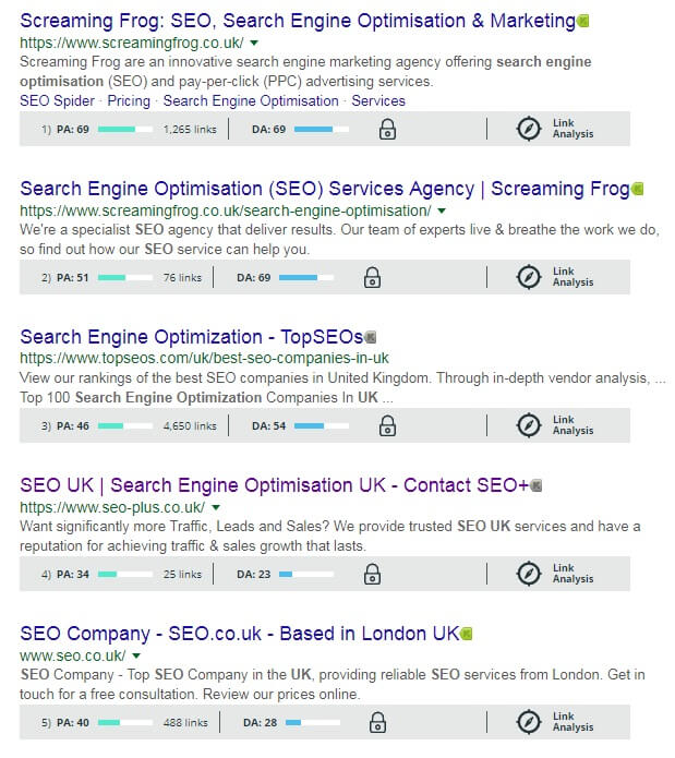 switch the Mozbar on while you're viewing a SERP, you can see at a glance the page and domain authority of the listed websites, as well as accessing some data to help you analyse their backlink profile.