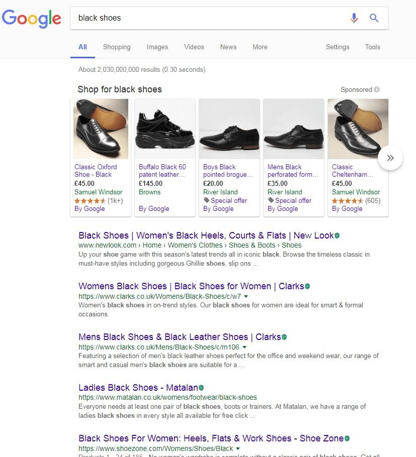 Google search for 'black shoes'