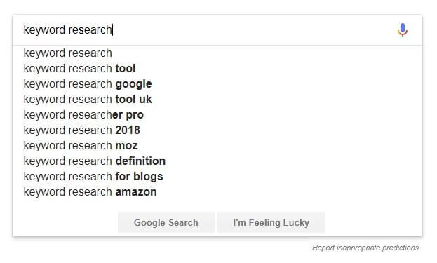 Google's autocomplete