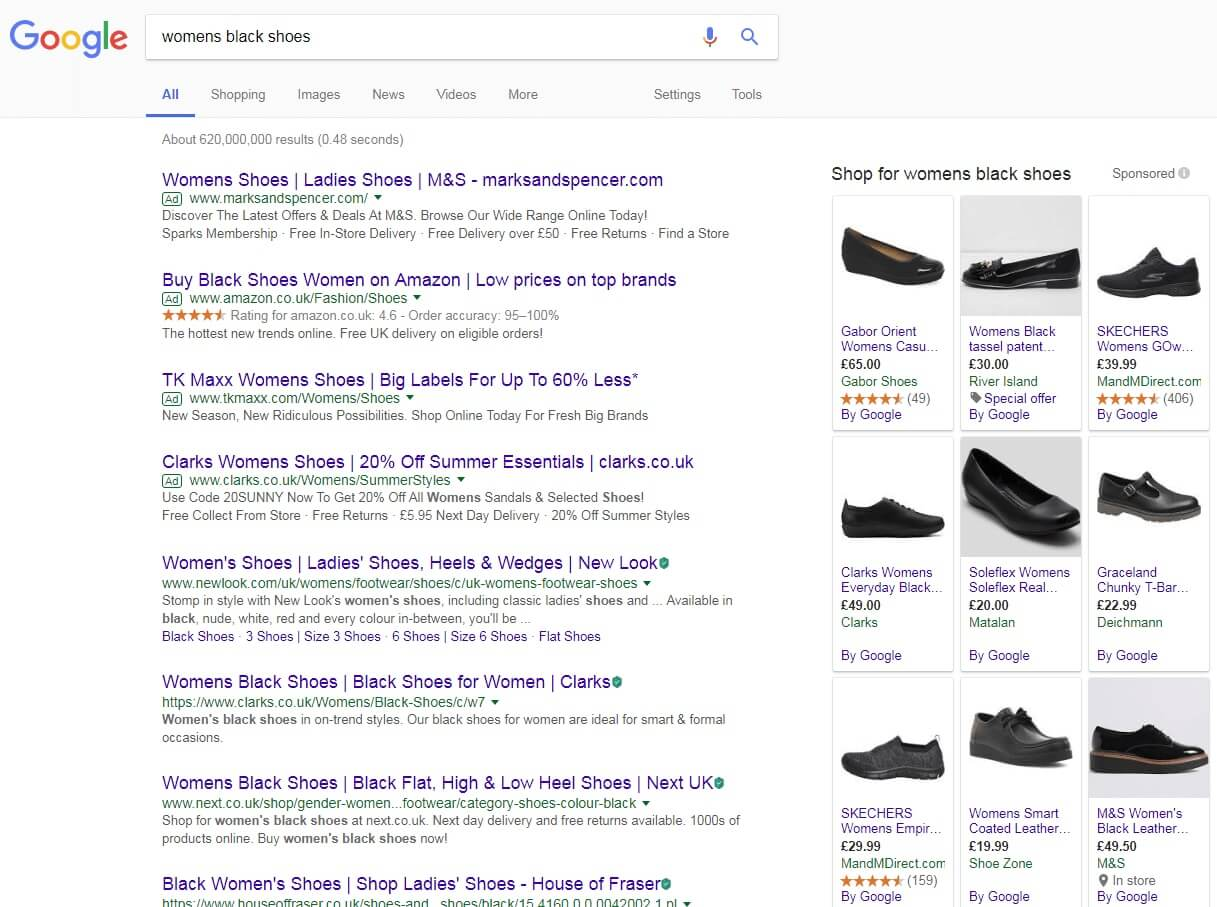 keyword search of 'womens black shoes'