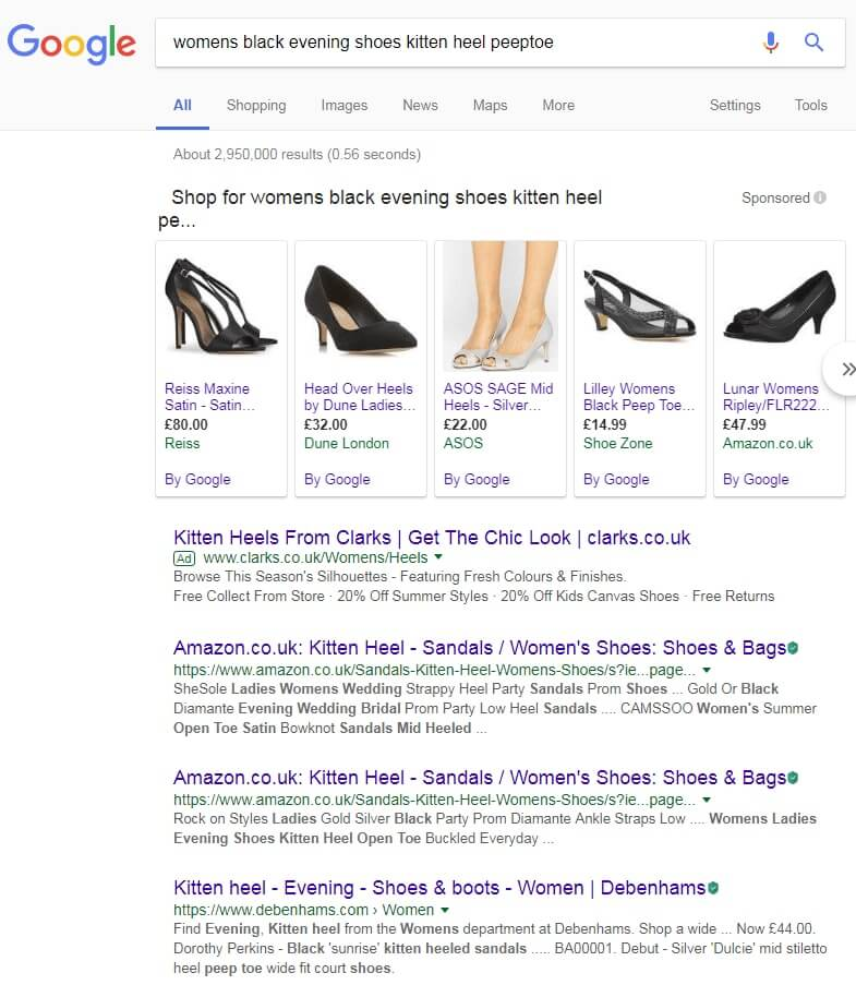 long-tail keyword search for 'womens black evening shoes kitten heel peeptoe'