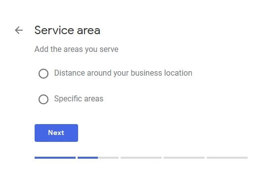 Service area screen in GMB