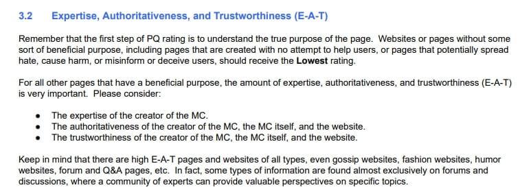 Expertise, Authoritativeness, Trustworthiness