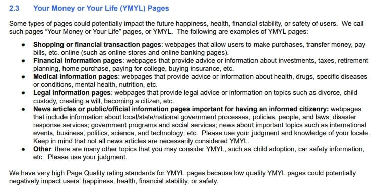 the full definition of YMYL websites from Google's Search Quality Evaluation Guidelines
