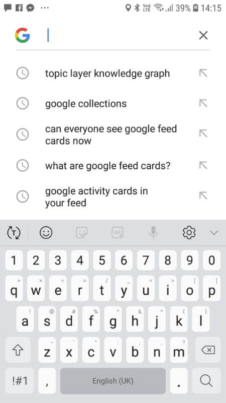 Click on the 'Search' tab and you can see your most recent Google searches at a glance.