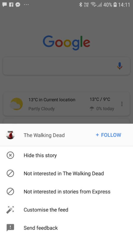 customise the Google feed
