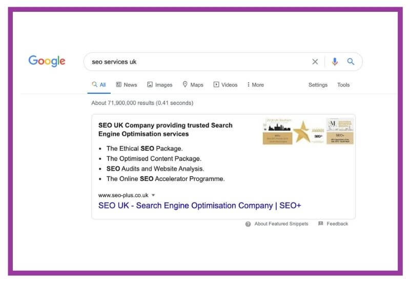SEO+ in a featured snippet
