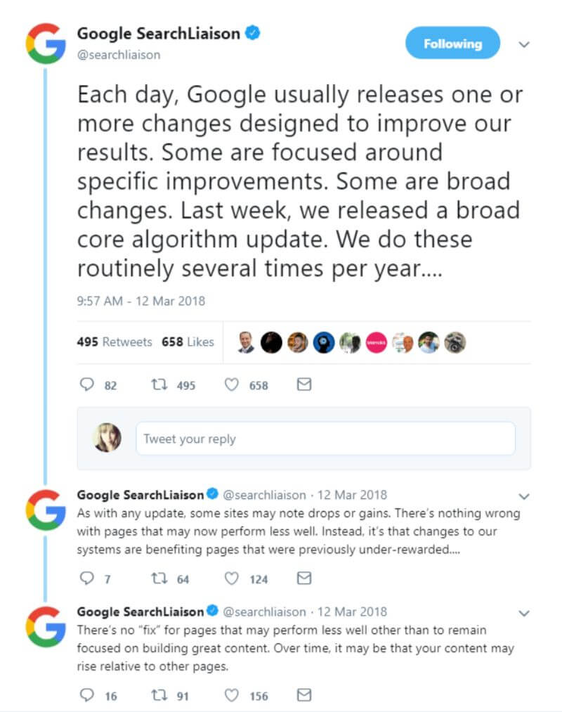 Google Core Update Tweet from Google's Search Liaison account
