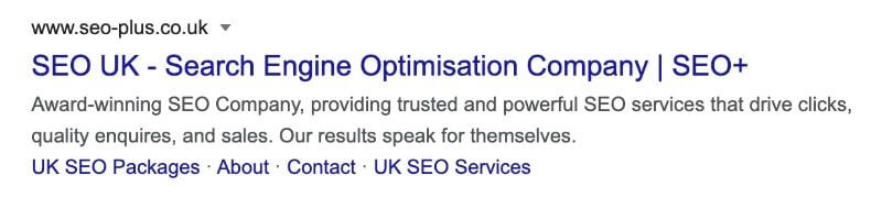 SERP Listing for SEO+