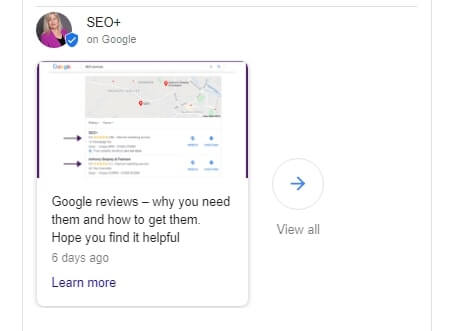 an example of my latest Google My Business post
