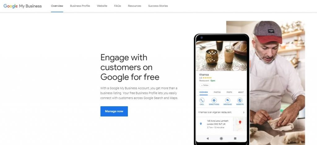 Google My Business start screen
