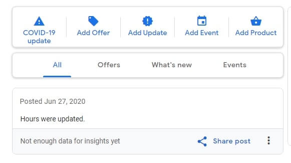writing posts on Google My Business