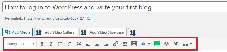 formatting toolbar above the content box.