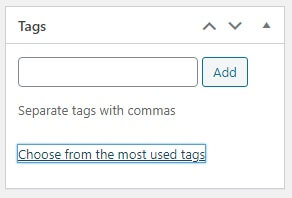 Choose from the most used tags