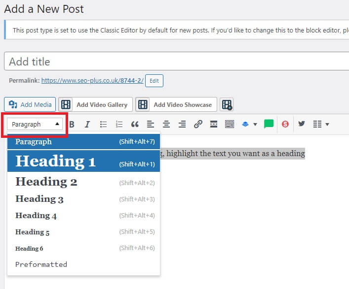apply an H1 tag to other headings within an article