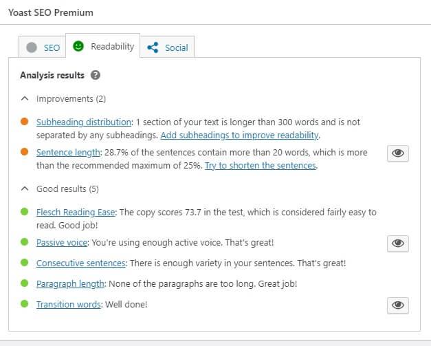 Readability tab