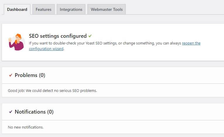 Yoast SEO settings configured