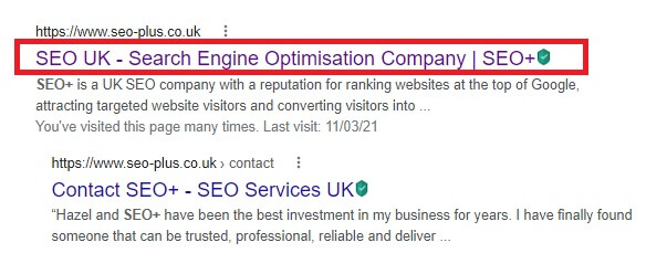 a title tag for the SEO+ website on Google